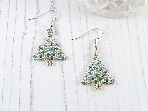 Glittering Crystal & Green Christmas Tree Earrings