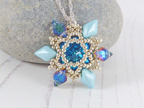 Turquoise Beaded Flower Pendant Necklace with Swarovski Crystal