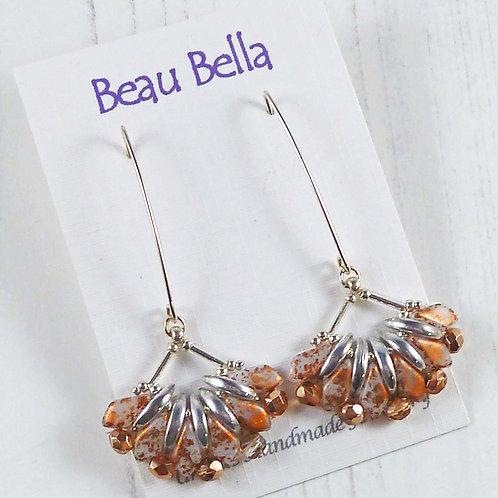 Long Copper and Silver Dangle Fan Earrings with V Hooks