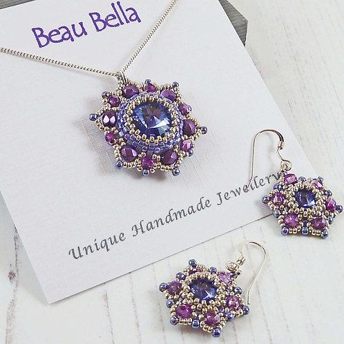 Jewellery Set - Tanzanite Mandala Flower Pendant & Earrings