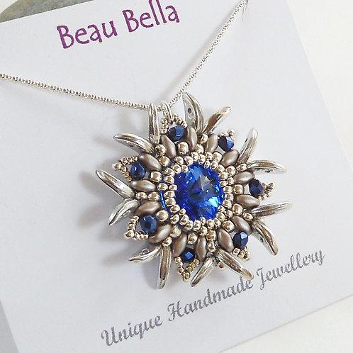 Statement Blue Edelweiss Flower Necklace, with Swarovski Rivoli