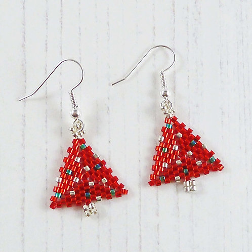 Christmas Tree Earrings in Red, Silver and Green
