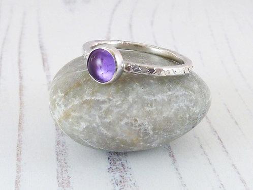 Amethyst Gemstone Silver Ring