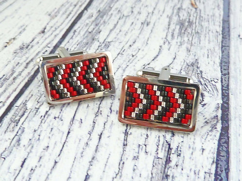 Red and Black Rectangle Cufflinks with Chevron Design