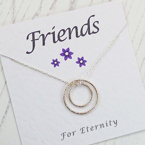 Friends Silver Eternity Circle Necklace, with a Special Message Car