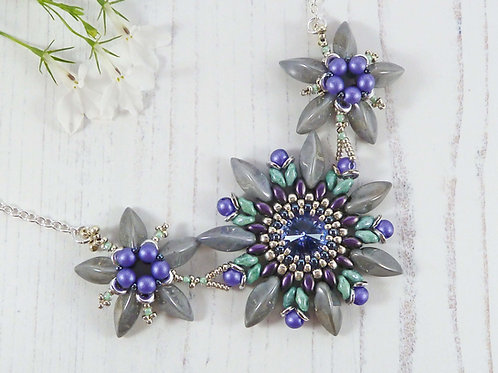 Statement Purple & Grey Flower Bib Necklace with Swarovski Crystal