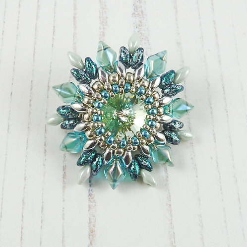 Green & Aqua Flower Brooch with Swarovski Crystal