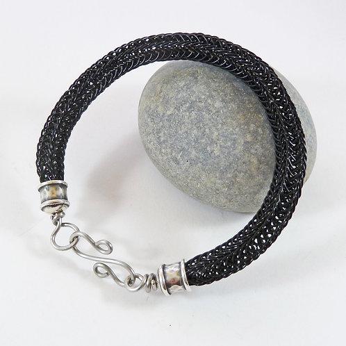 Black Viking Knit Woven Bracelet - Made To Order