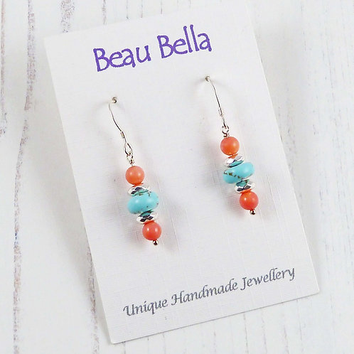 Long dangle coral and turquentine earrings