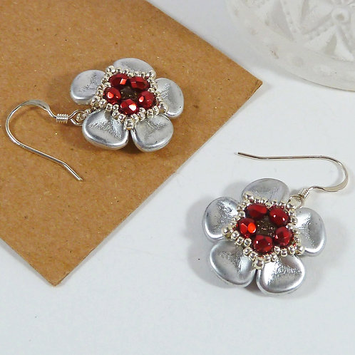 Large Silver and Red Flower Earrings
