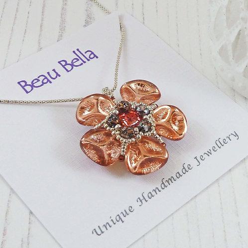 Copper Poppy Necklace, Hand sewn statement Flower Necklace
