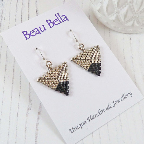 Silver and Black Dipped Triangle Earrings