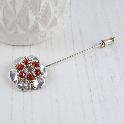 Red and Silver Scarf Pin, with Swarovski crystal