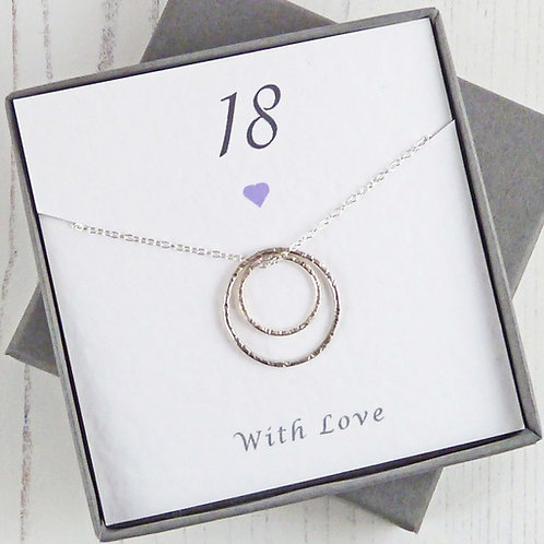 18th Birthday Gift - Silver Eternity Circle Necklace