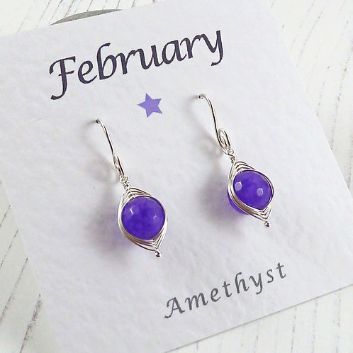 Amethyst Wire Wrap Silver Earrings for a February Birthday