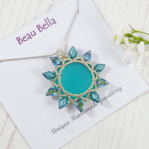 Statement Iridescent Turquoise Flower Necklace
