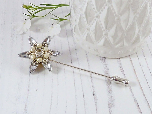Sparkly Cream & Silver Flower Pin, for a Scarf or Lapel
