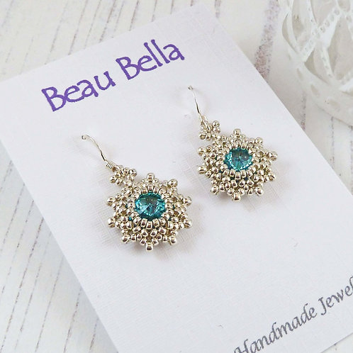 Star Shape Turquoise Crystal Earrings with Swarovski Stones