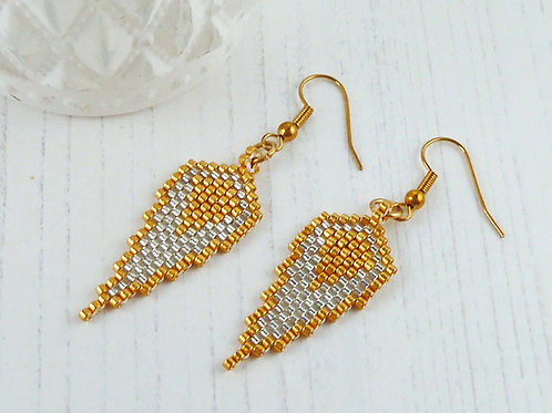 Gold and Silver Angel Wing Earrings