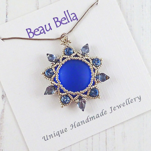 Bold Sapphire Blue Flower Necklace with Luminescent Cabochon