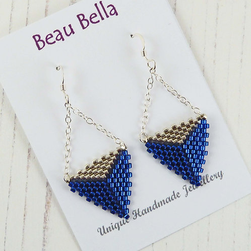 Two Tone Blue and Silver Triangle Dangle Earrings