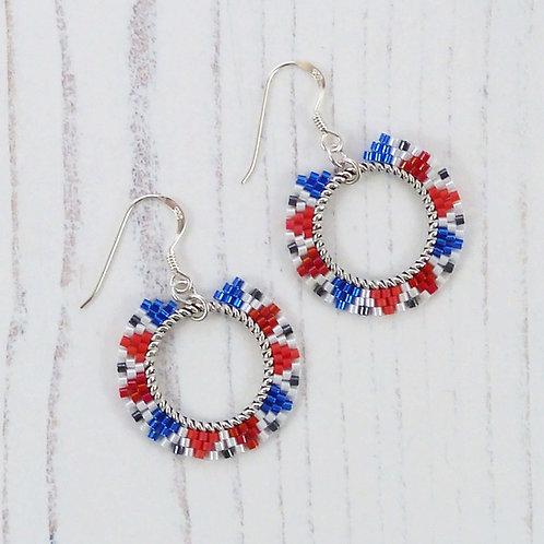 Red, White and Blue Beaded Hoop Earrings
