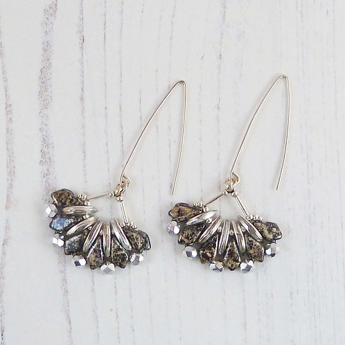 Long Silver and Black Fan Dangle Earrings