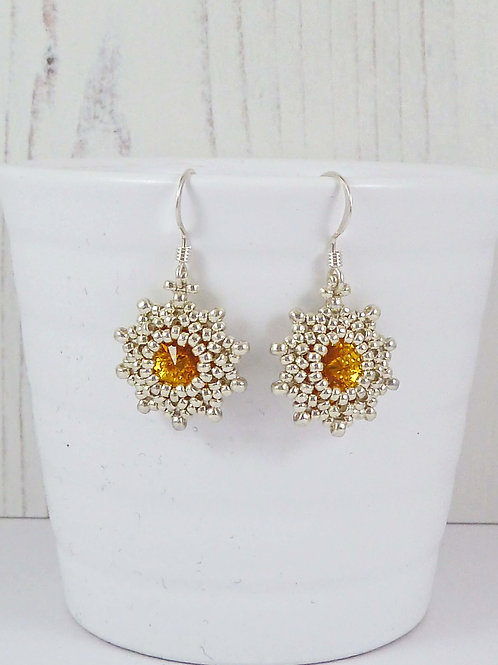 Yellow Sunflower Star Shape Crystal Earrings with Swarovski Stones