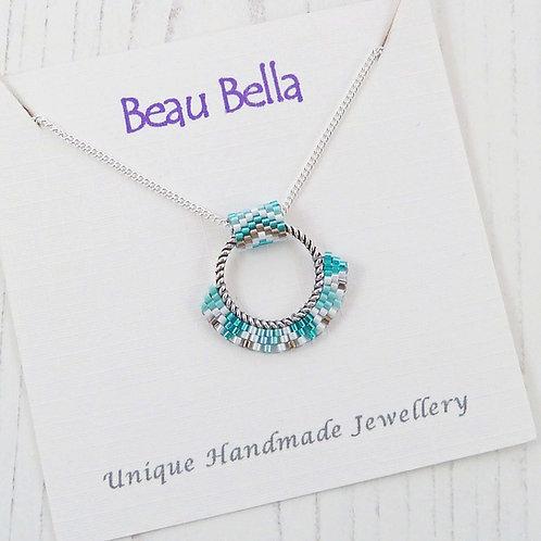 Green Beaded Hoop Necklace