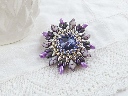 Vintage Style Purple Flower Brooch with Swarovski Crystal Stone