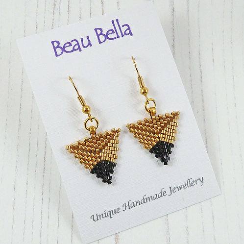 Gold and Black Dipped Triangle Earrings