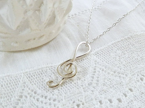 Silver Treble Clef Necklace