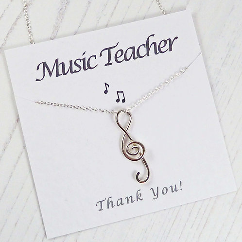 Music Teacher Sterling Silver Treble Clef Necklace Gift