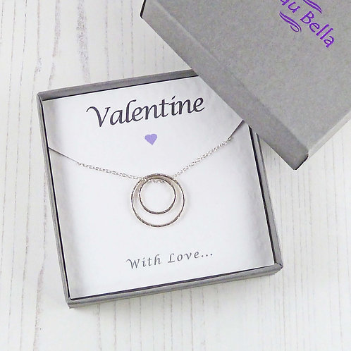 Silver Eternity Circle Necklace for Valentine