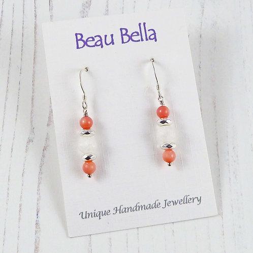 Long dangle coral earrings