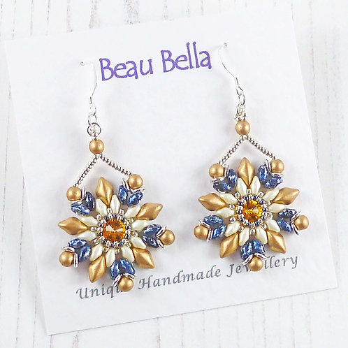 Gold and Blue Flower Dangle Earrings with Swarovski Crystal Stone