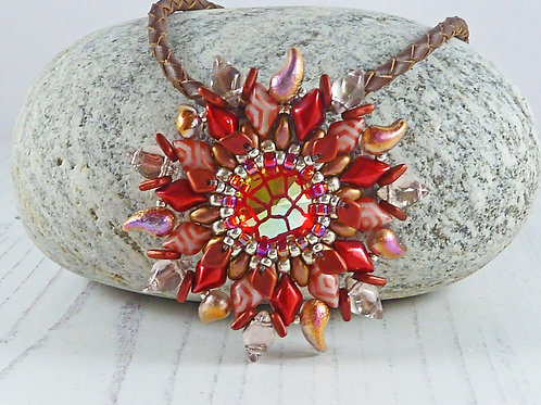 Statement Red Dragon's Eye Pendant Necklace with Swarovski Crystal