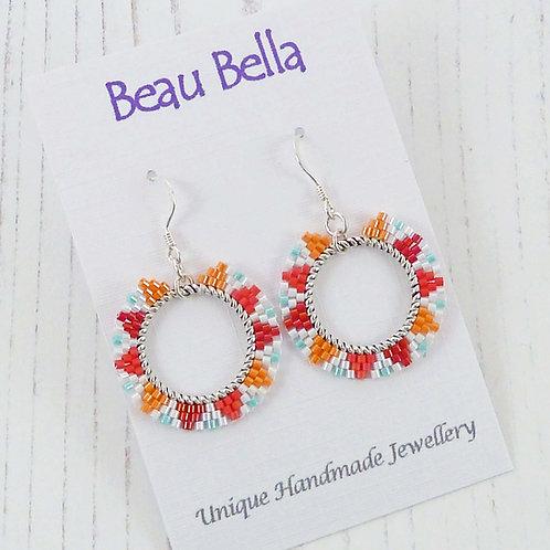 Red, Orange Blue Beaded Hoop Earrings