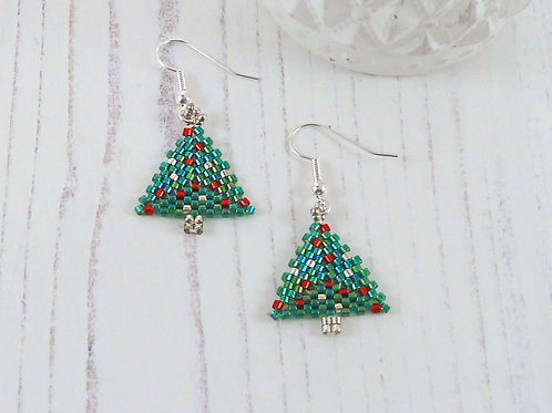 Green and Silver Christmas Tree Earrings