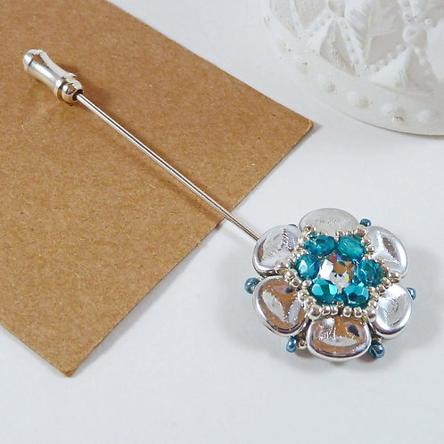 Pretty Spring Lapel Pin in Turquoise