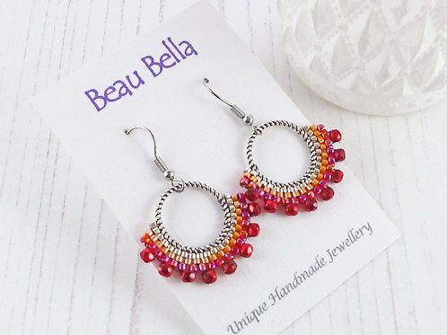 Red, Orange & Silver Beaded Hoop Fan Earrings