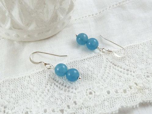 Blue Sponge Quartz Dangle Earrings in Sterling Silver