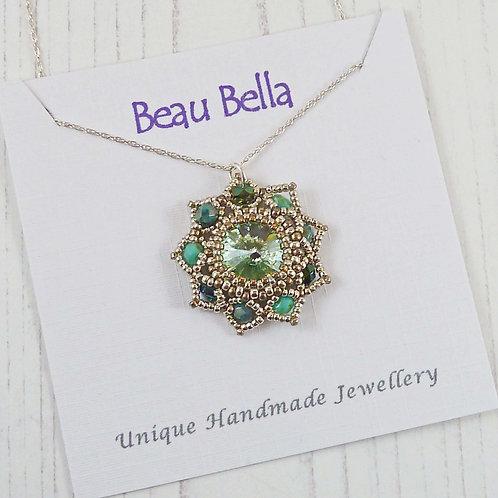 Pretty Green and Silver Flower Necklace with Swarovski Rivoli