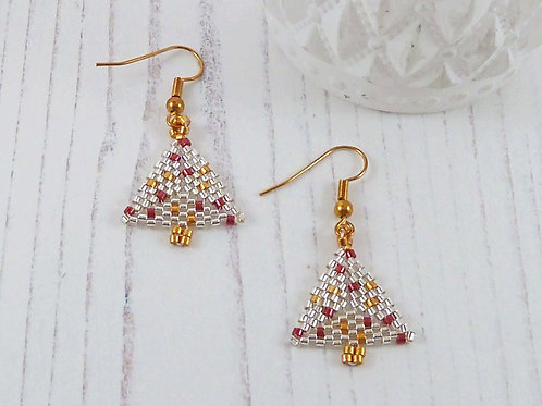 Silver and Gold Christmas Tree Earrings