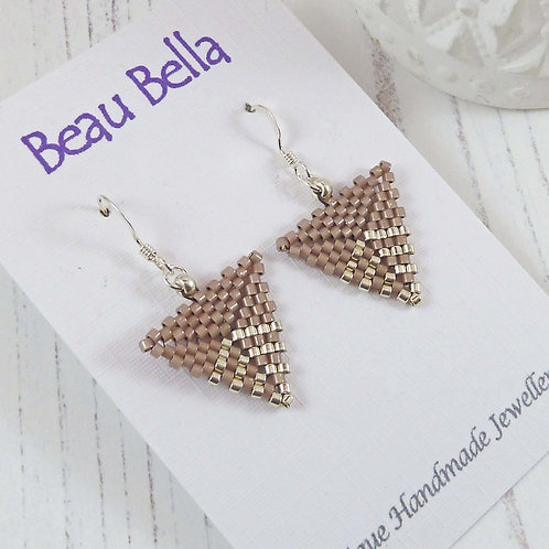 Pale Brown and Silver Triangle Shaped Earrings, handmade with seed beads
