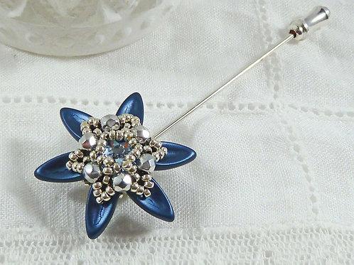 Sparkling Blue Flower Brooch Pin with Swarovski crystal