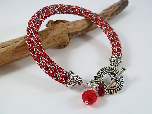 Nordic Style Red Wirework Bracelet (Small to Medium Size)