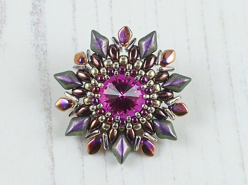 Purple and Pink Flower Brooch with Swarovski Crystal