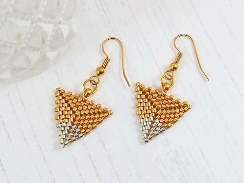 Gold Triangle Earrings with Silver Dipped Tip