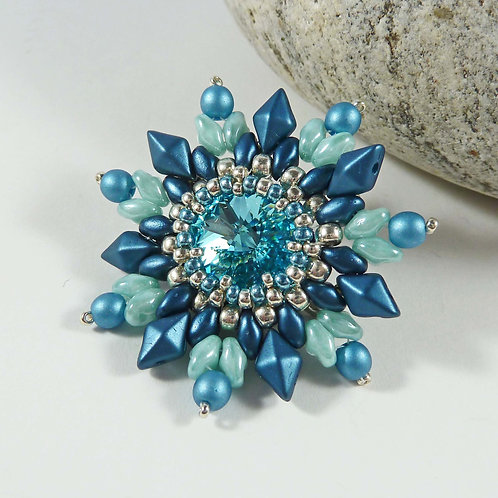 Vintage Style Flower Brooch in Turquoise Shades with Swarovski Rivoli Stone